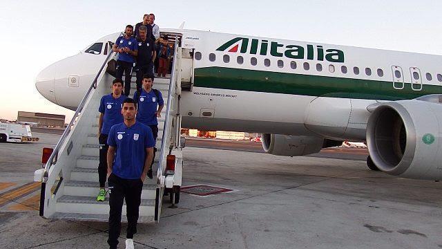 بازیکنان و اعضای کادر فنی تیم ملی فوتبال وارد رم شدند