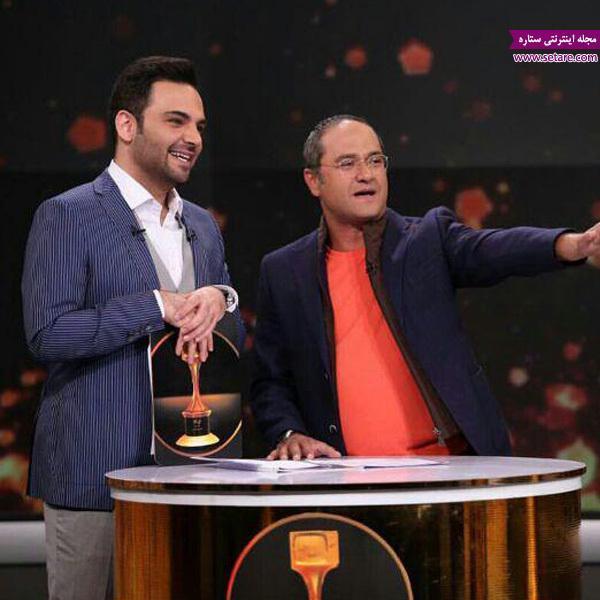 رامبد جوان در کنار احسان علیخانی در برنامه سه خبرنگاران