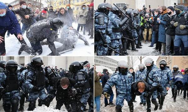 وزیر خارجه آمریکا سرکوب خشن معترضان روس را محکوم کرد